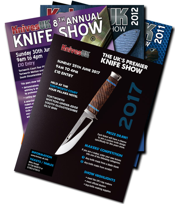 Knife show leaflets over the years